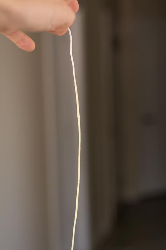 a piece of candle wick