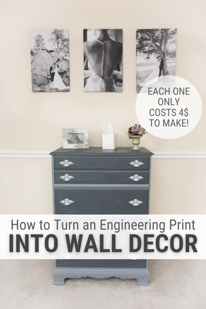 Engineered prints hanging above a dresser with text How to Turn an Engineering Print into Wall Decor