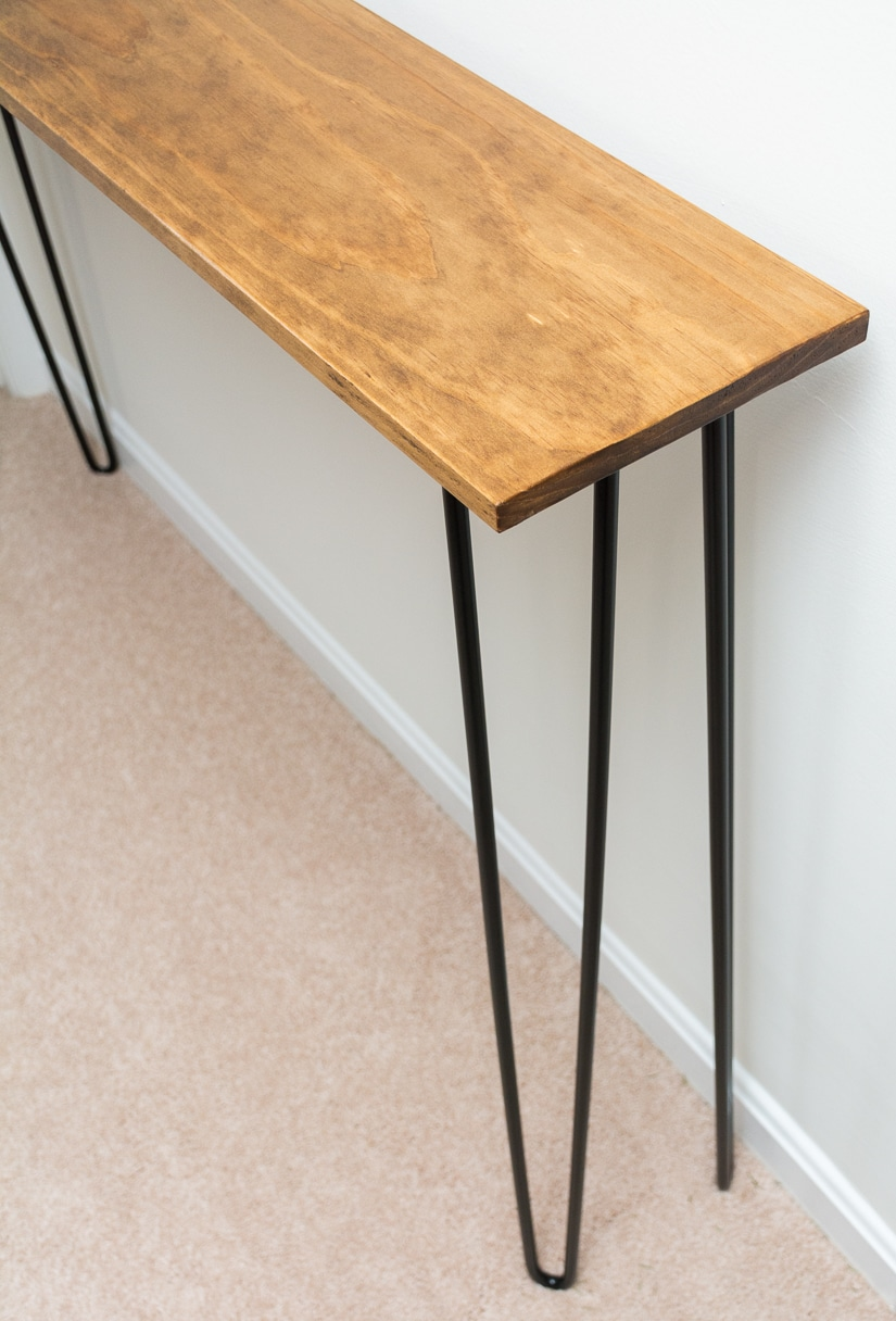 Leftover pine diy hairpin leg console table by brittany for Sofa table leg height