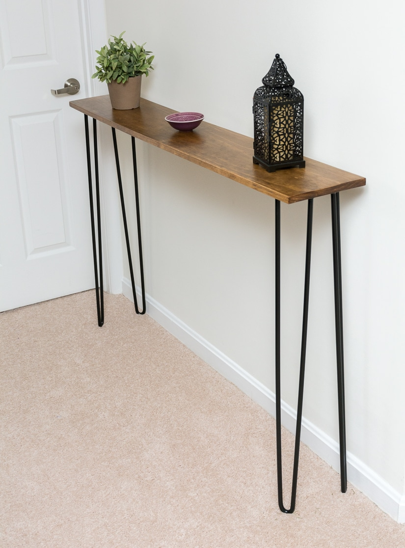 leftover pine diy hairpin leg console table by brittany goldwyn live creatively. Black Bedroom Furniture Sets. Home Design Ideas