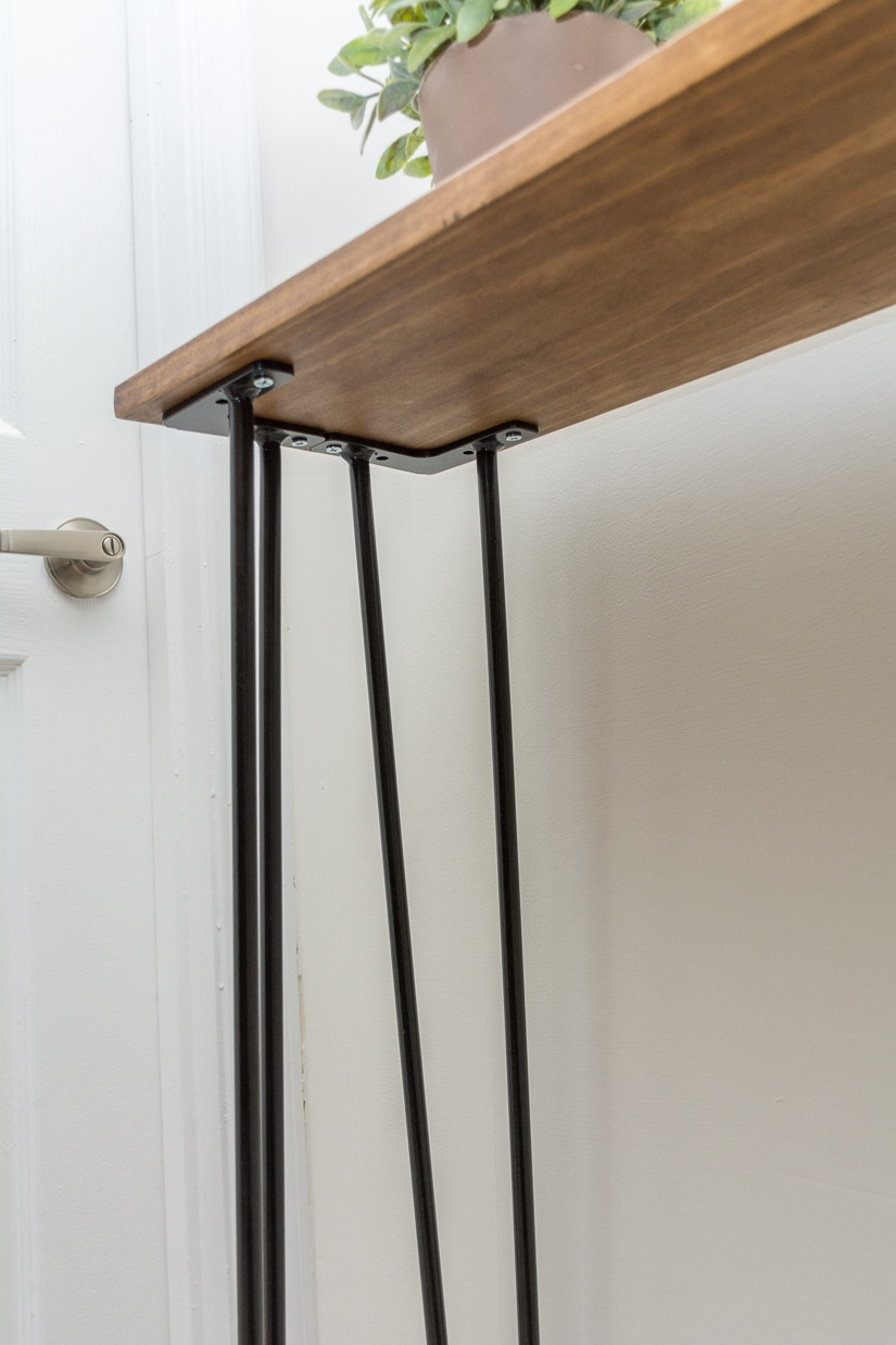 Leftover pine diy hairpin leg console table by brittany for Cheap hairpin legs