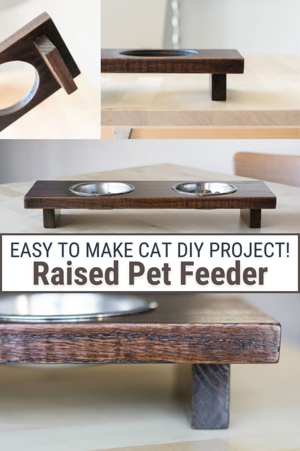 image collage of raised pet feeder with text Easy to Make Cat DIY Project! Raised Pet Feeder