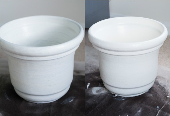 Check out this painted ceramic pot makeover using Americana Decor Satin Enamels in Warm White and Americana Decor Metallics in Antique Bronze!