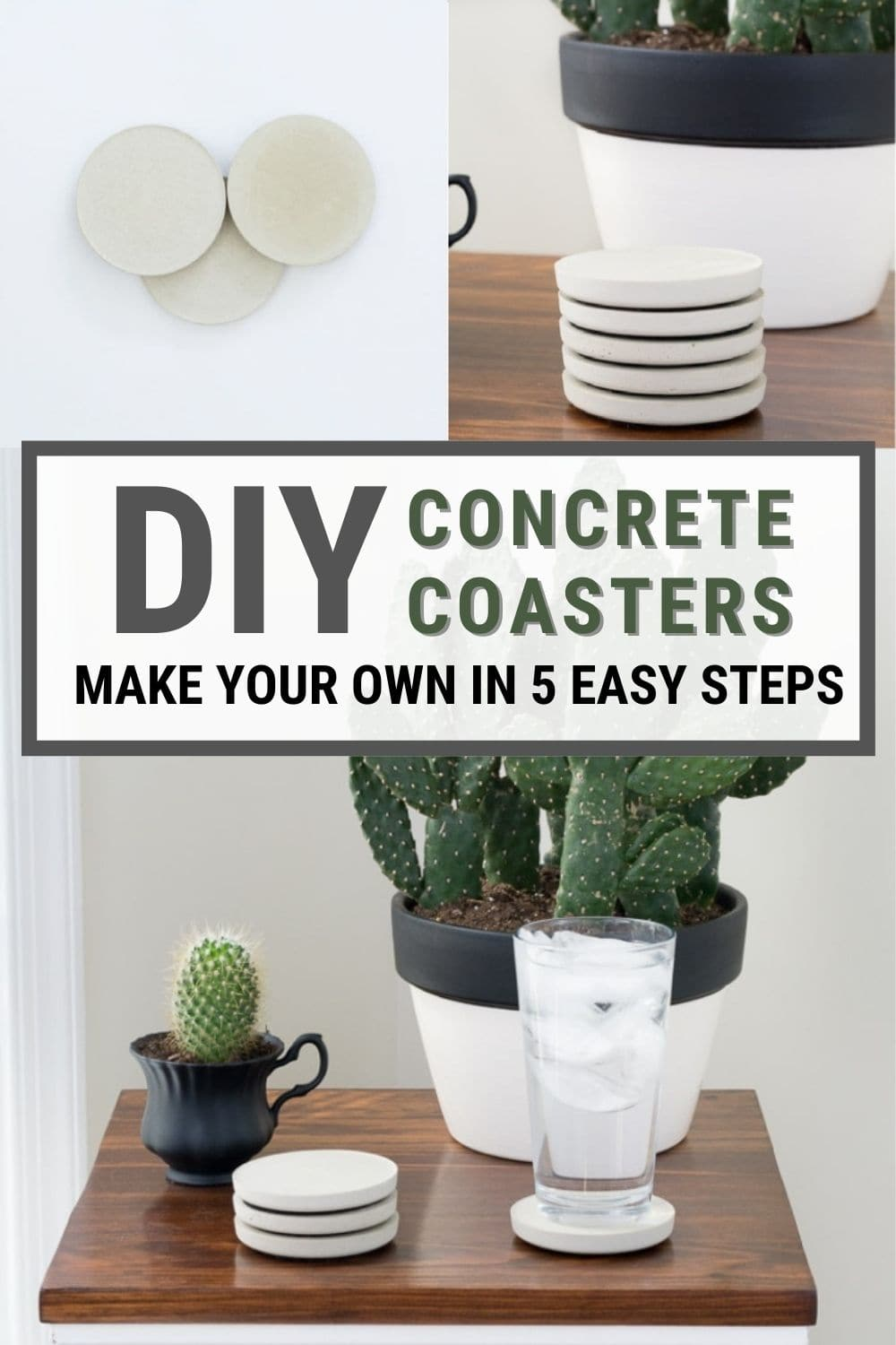 image collage of concrete coasters with text DIY Concrete Coasters Make your Own in 5 Easy Steps