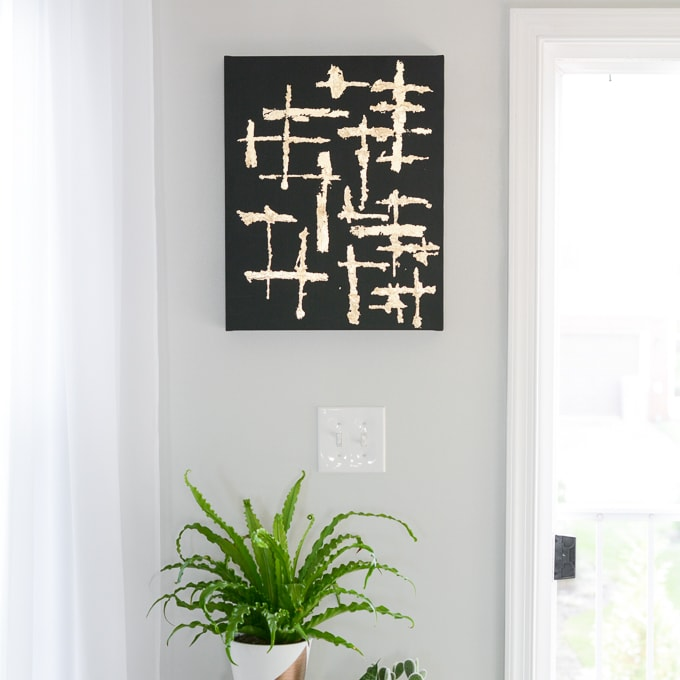 Make Abstract Black And Gold Leaf Canvas Brittany Goldwyn Wall Art