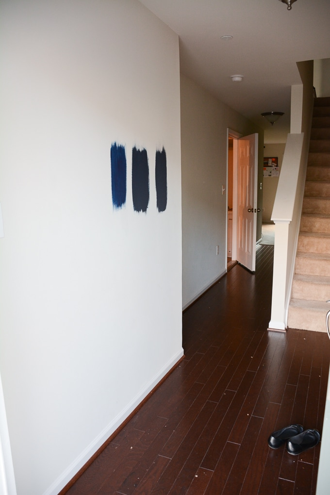 testing navy paint colors on a wall