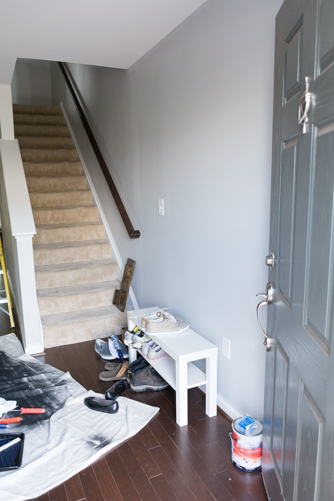 My Entryway Makeover: Sherwin-Williams Anchors Aweigh and Repose Gray