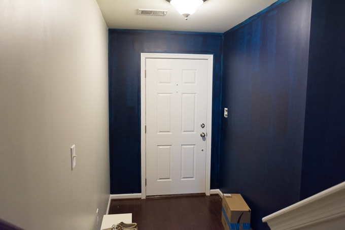 first coat of Sherwin-Williams anchors aweigh painted