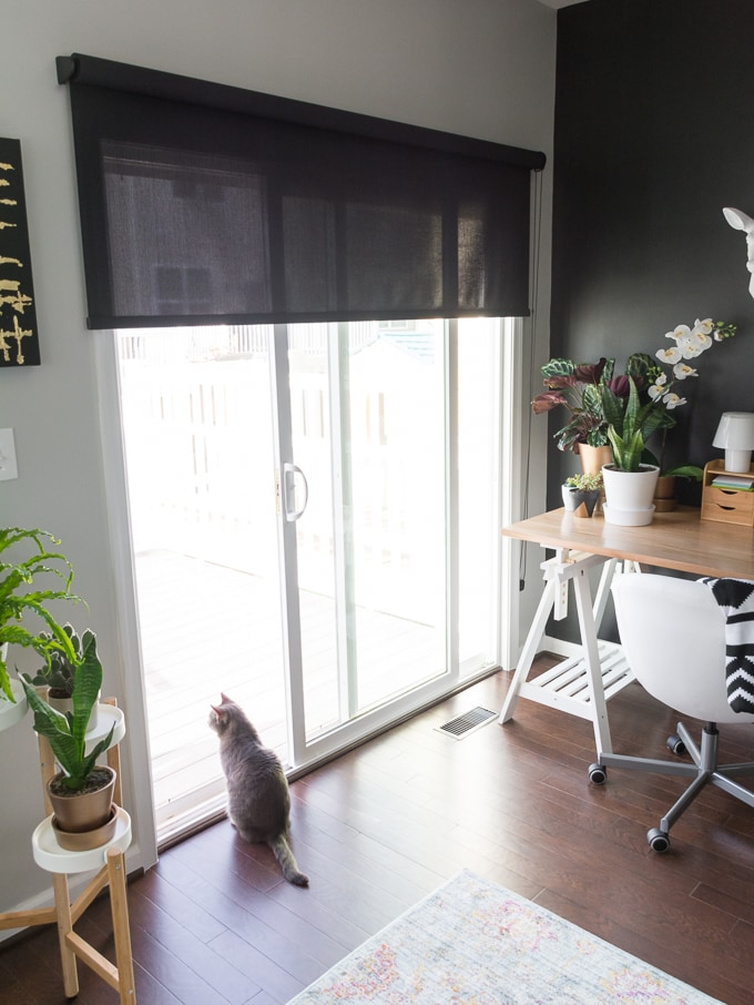My Fall 2016 One Room Challenge Reveal! This is my modern multi-use space, which we use for my office space, our dining space, and kitten cuddles.