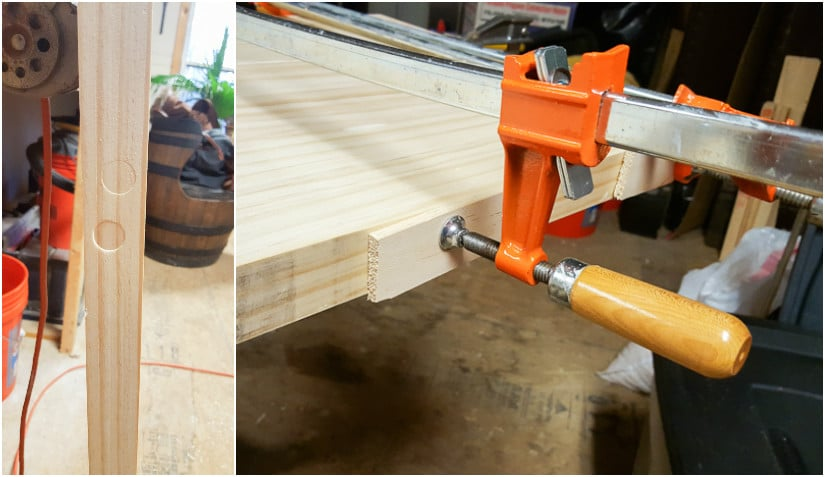 joining wood boards together using glue and clamps