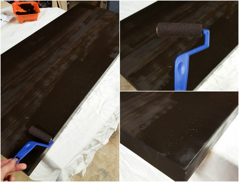 staining a pine tabletop