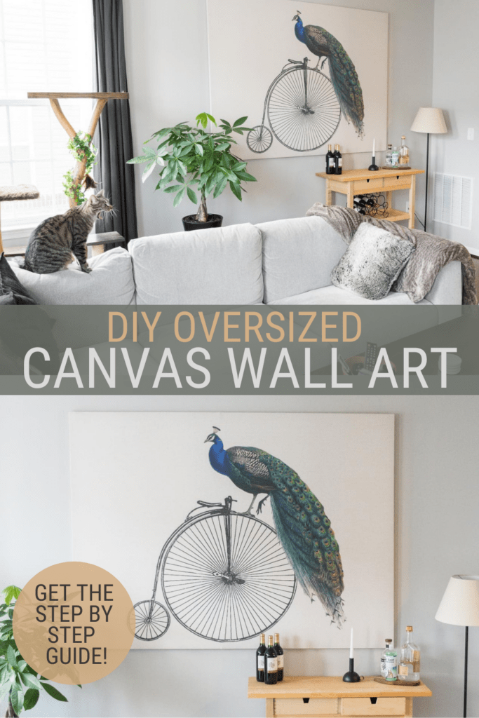 two images of peacock on a bicycle with text overlay DIY oversized Canvas Wall Art