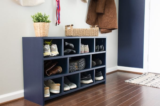 Entryway Update #2: Free Shoe Cubby Plans