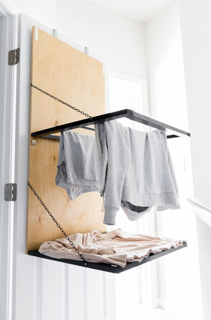 pull-down, door-mounted drying rack