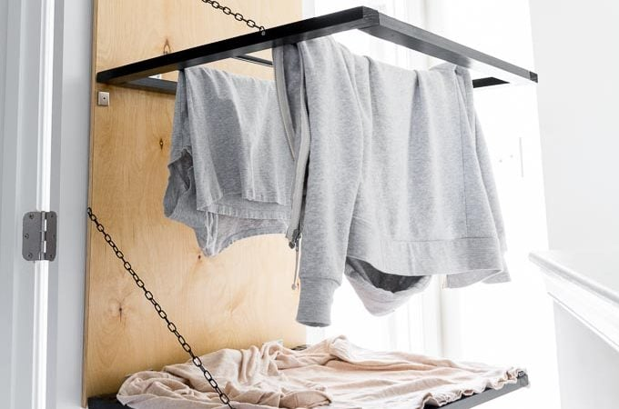 Tiny Laundry Nook Update #4 // Pull-Down, Door-Mounted Drying Rack