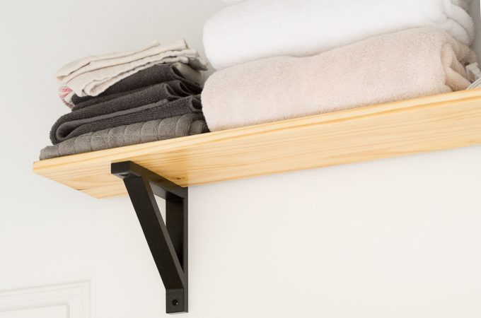 Tiny Laundry Nook Update #2 // Open Shelving Using Stair Treads