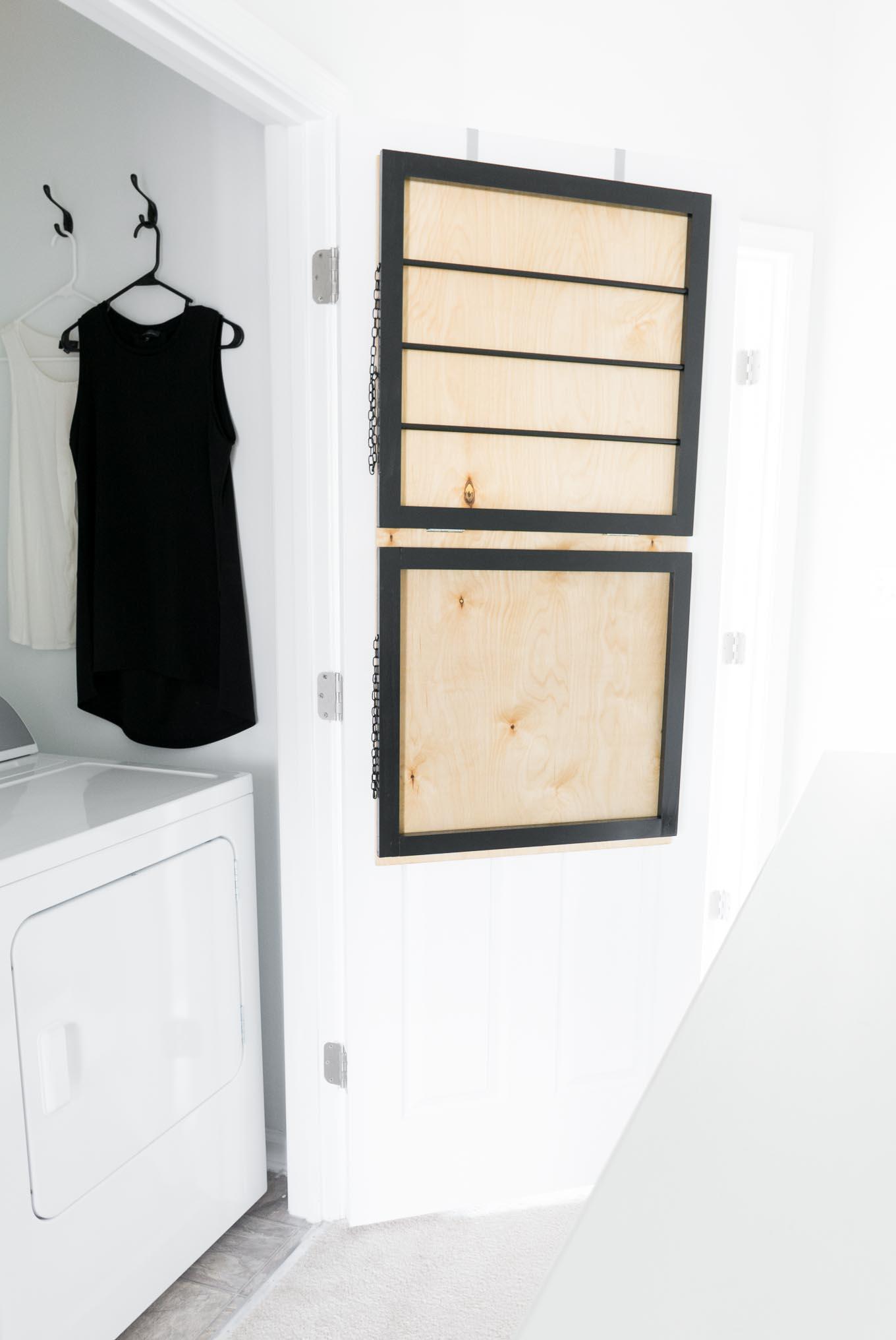 Tiny Black and White Laundry Nook