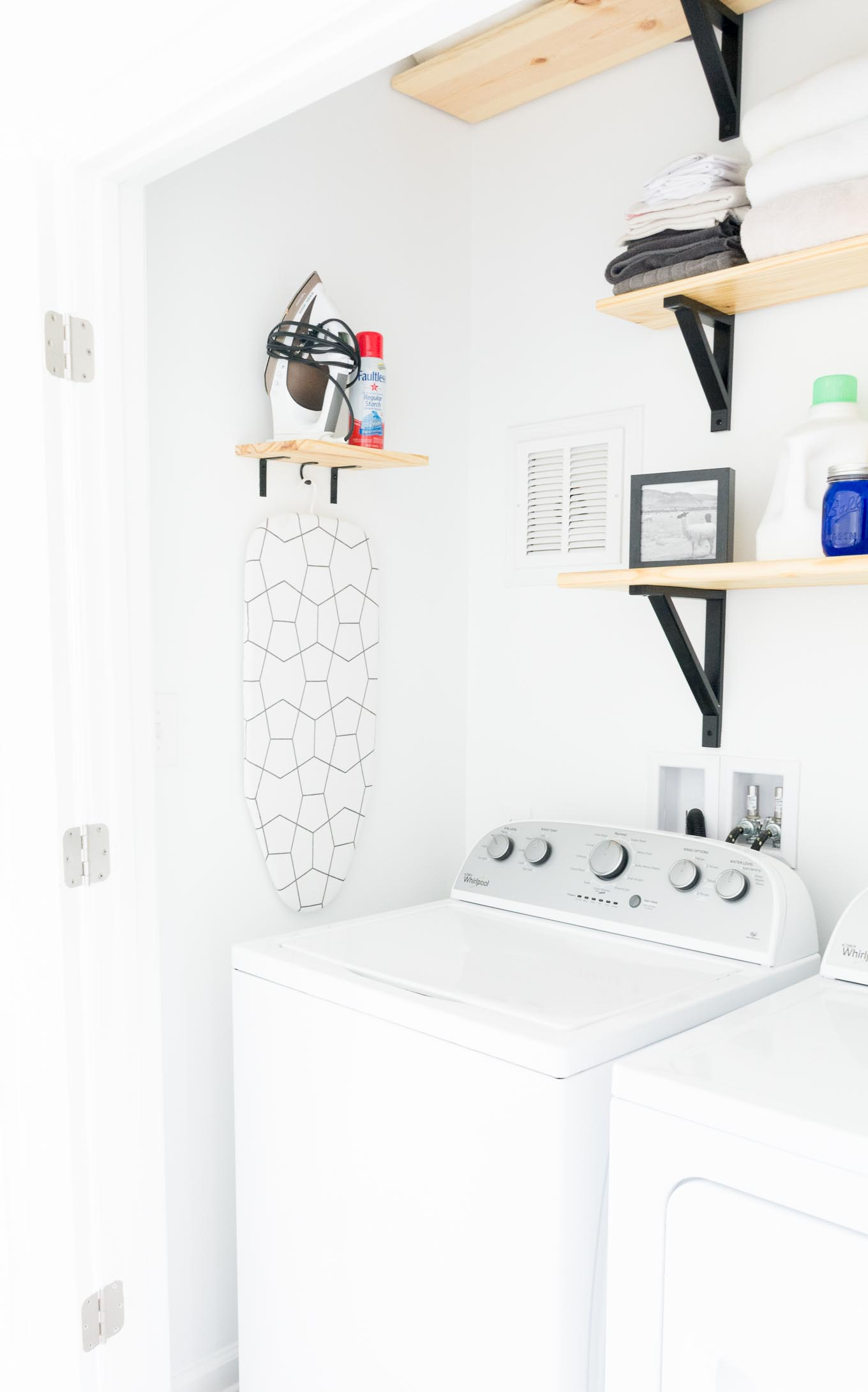 Tiny Black and White Laundry Nook