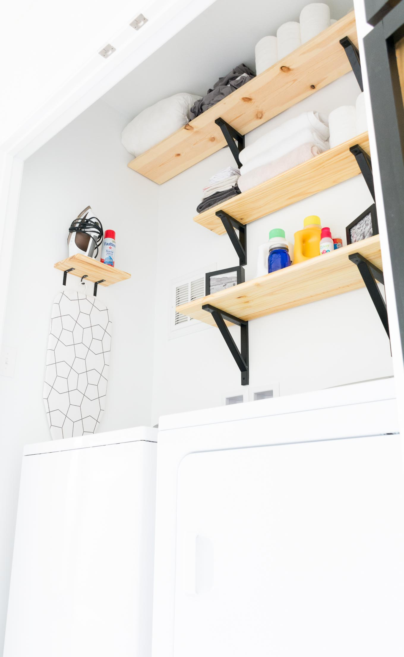 Modern black and white laundry nook