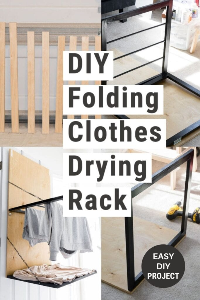 image collage of door mounted clothes drying rack with text overlay DIY Folding Clothes Drying Rack