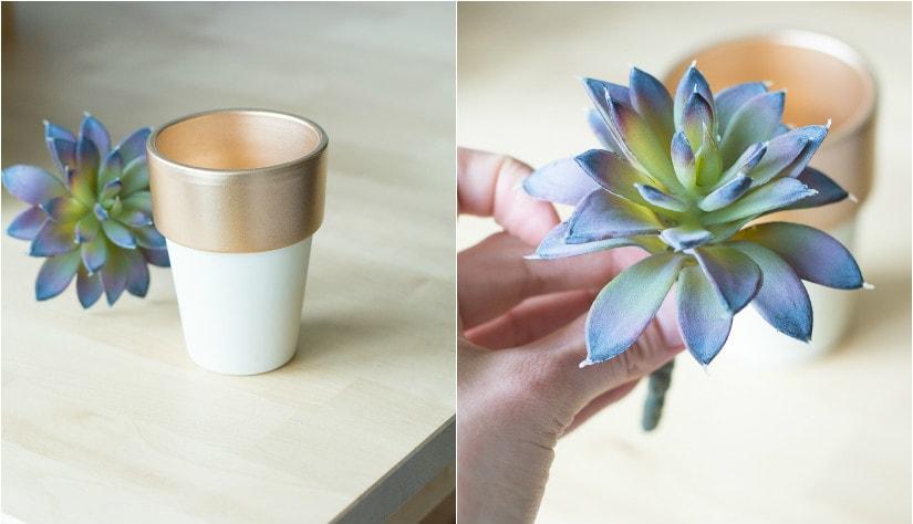 painted pot and faux succulent