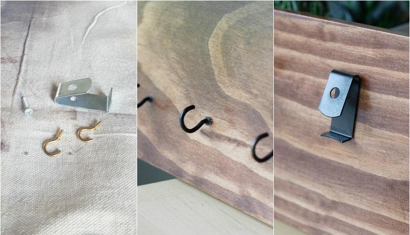 adding hooks to the DIY wood key rack