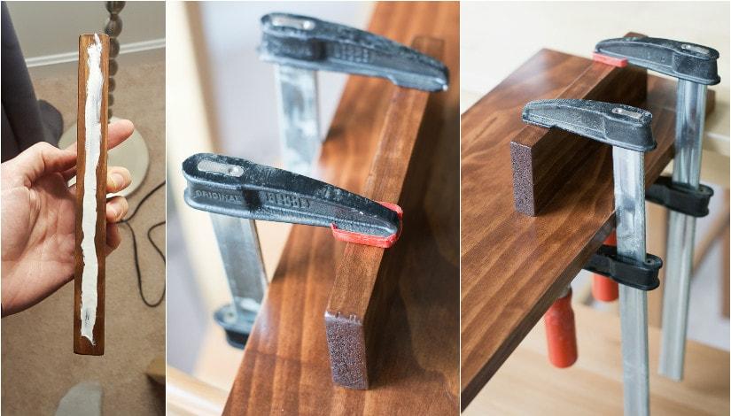 gluing the shelf to the DIY wood key rack
