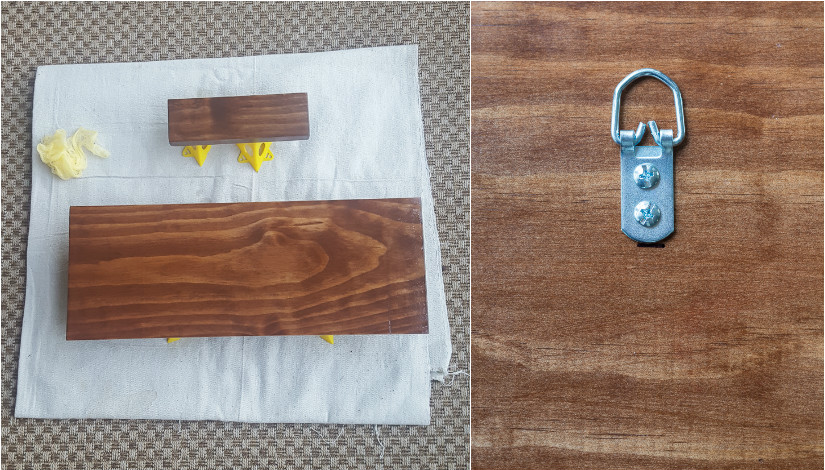 staining a piece of wood and adding D rings