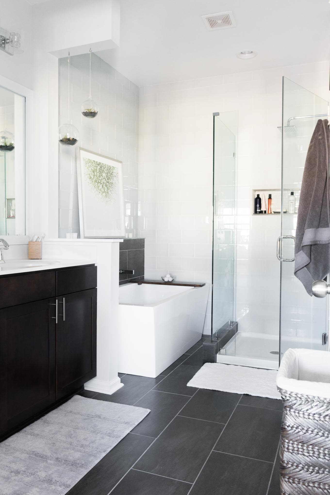 Master Bathroom Reveal Photos // Dark gray large format tile, white glass  subway tile