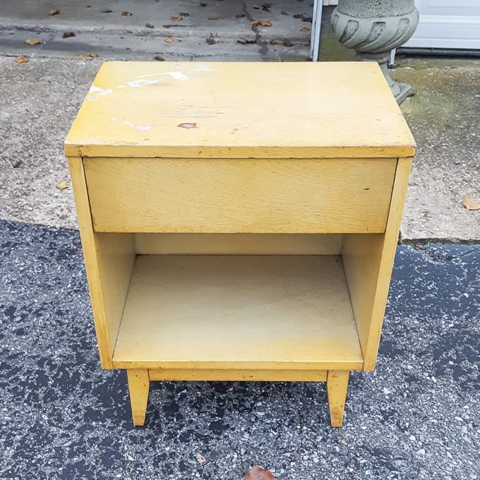Before making over the yellow nightstand