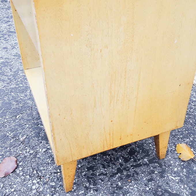 Retro nightstand makeover using DecoArt Satin Enamels in Honey Gold