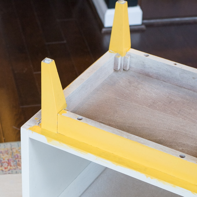 yellow painted nightstand