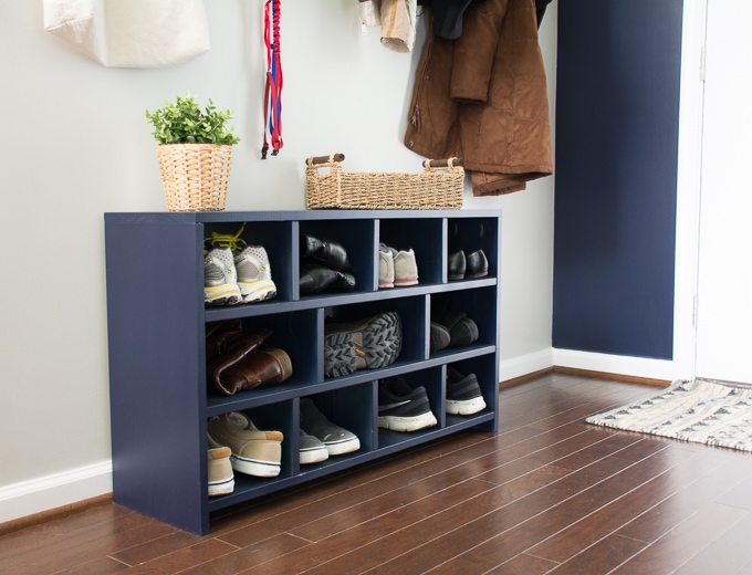 Learn how to build a shoe cubby--the perfect entryway project!