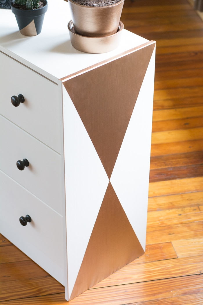 Yes, another Ikea Rast makeover! See how I used DecoArt paints to make this pine dresser a modern piece // Little geometric Ikea Rast makeover