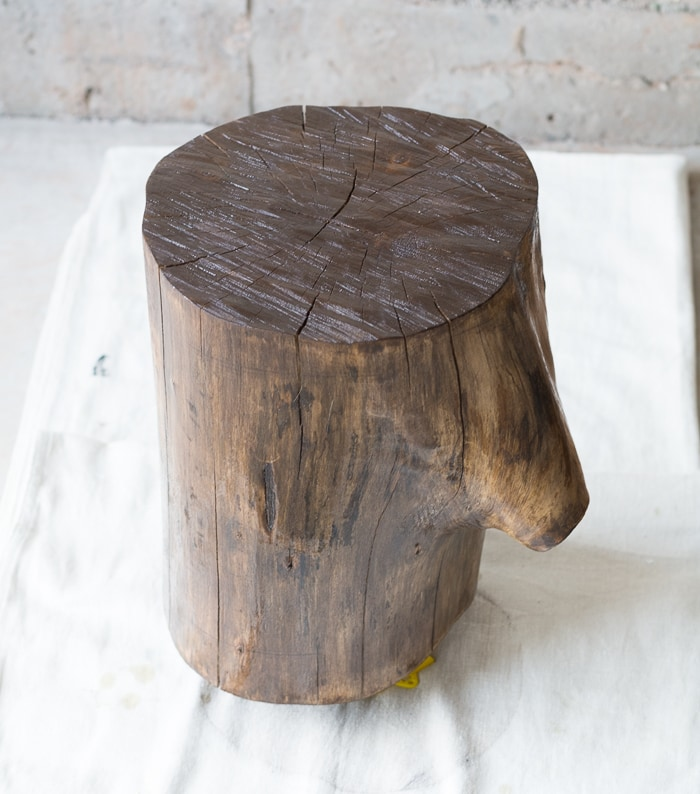 how to make tree stump side table by staining and finishing a stump ...