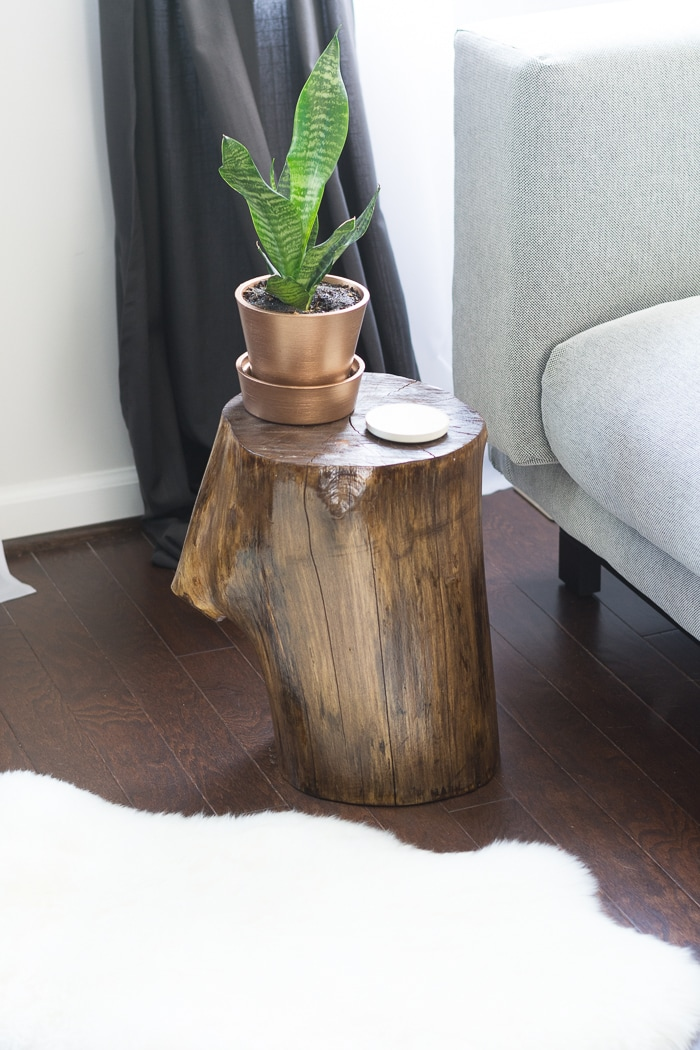 Learn How To Make Tree Stump Side Table By Staining And Finishing A Stump!  Itu0027s