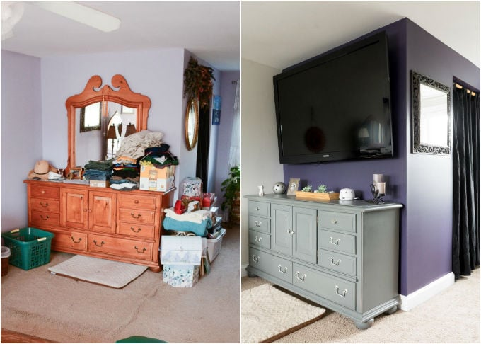 Fresh and easy updates to a dated master bedroom // See how we transformed and modernized this master bedroom on a budget // Sherwin-Williams Quixotic Plum, Sherwin-Williams Basalt Powder, Sherwin-Williams Grizzle Gray