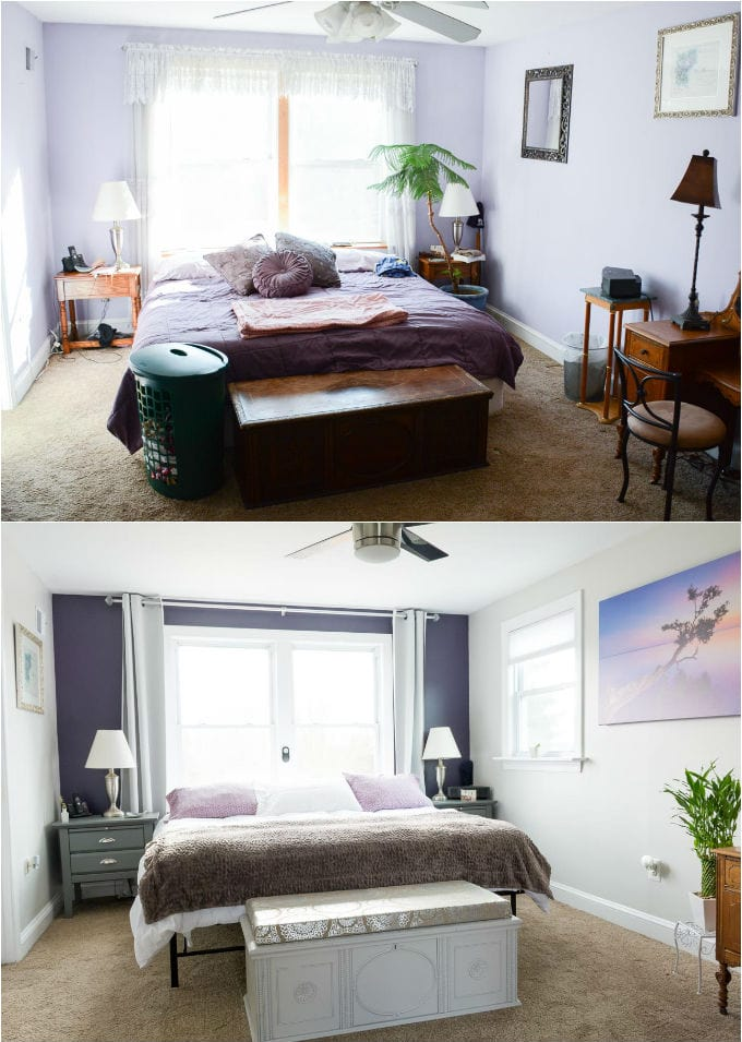 Fresh and easy updates to a dated master bedroom // See how we transformed and modernized this master bedroom on a budget // Sherwin-Williams Quixotic Plum, Sherwin-Williams Basalt Powder // light gray thermal curtains