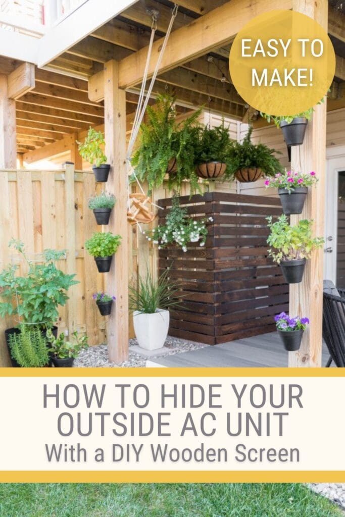 view of back patio with diy ac unit screen and text How to hide your outside ac unit with a diy wooden screen