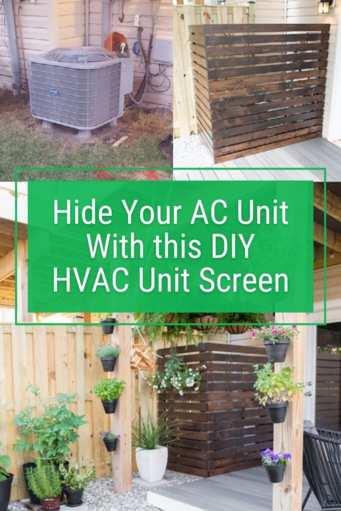 image collage with text Hide your ac unit with this diy HVAC unit screen