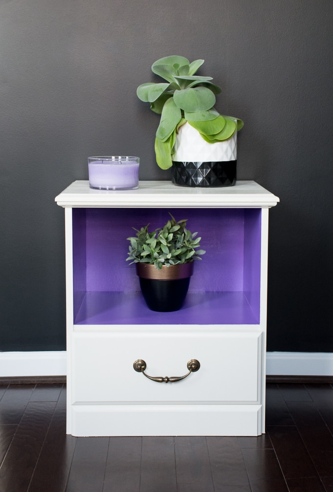 Bold nightstand makeover using DecoArt Americana Decor Satin Enamels in Linen and Pansy