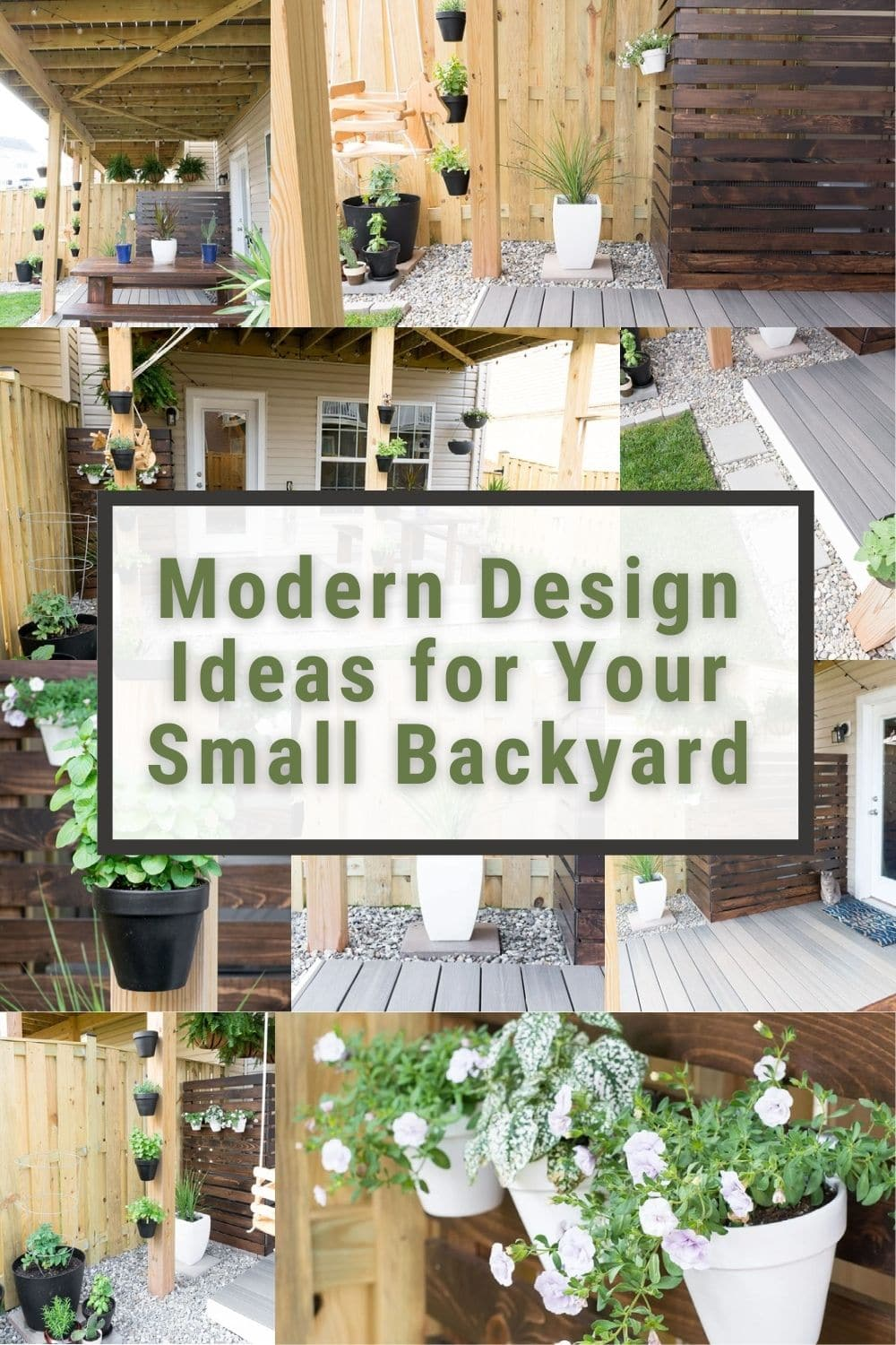 image collage of small backyard design ideas with text Modern Design Ideas for Your Small Backyard