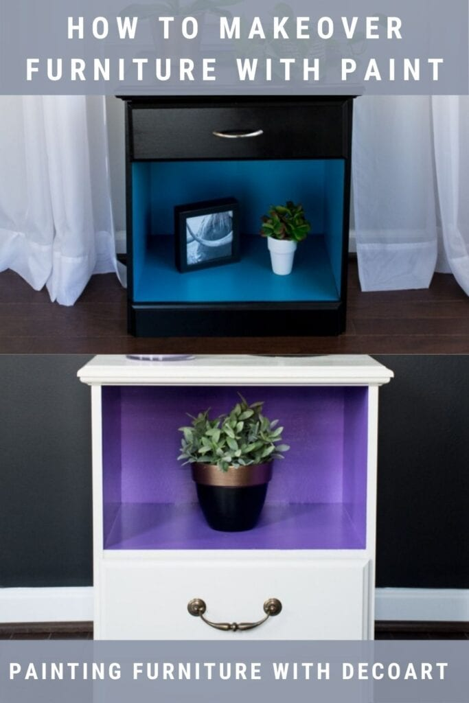 Painted nightstands with text How to Makeover Furniture with Paint, Painting Furniture with DecoArt