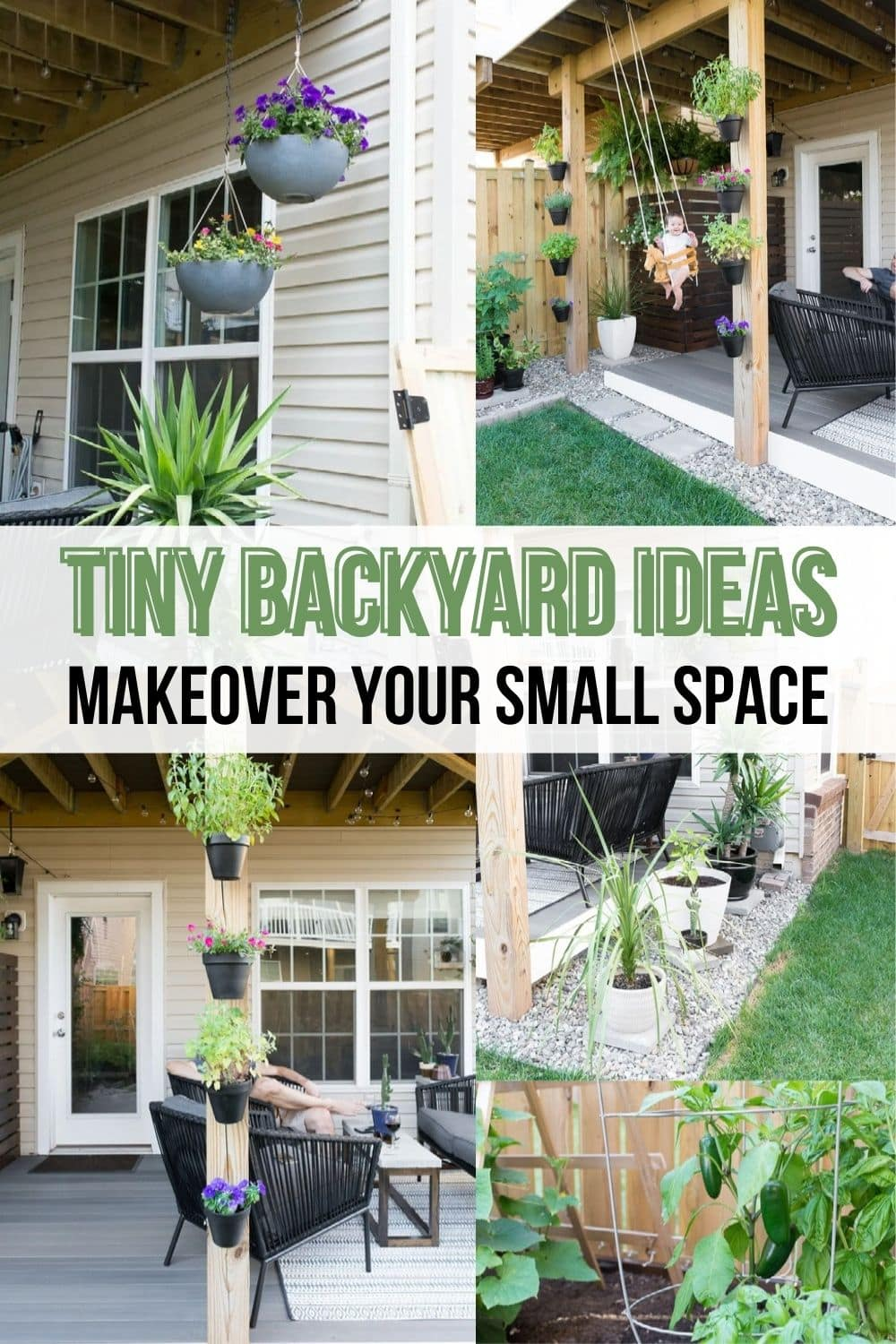 image collage of tiny backyard ideas with text Tiny Backyard Ideas Makeover your small space