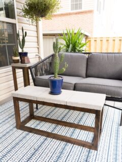 DIY side table made using pavers