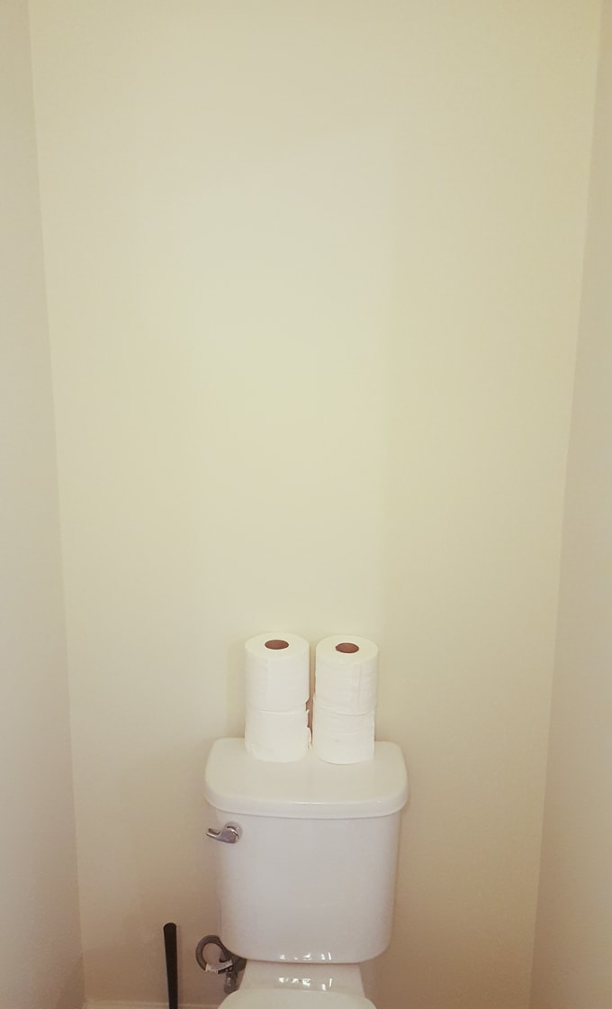 Modern powder room makeover before pics