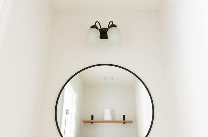 Lower-Level Powder Room: Cheap & Easy Light Fixture Facelift