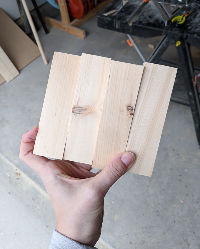 four small scraps of wood for the legs