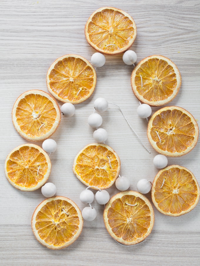 wood beads and orange slices
