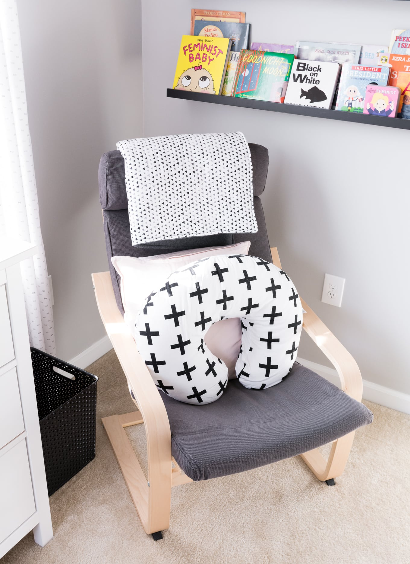 A Modern and Neutral Nursery // Behr Silver City, Behr Dark Granite // Ikea Poang in nursery